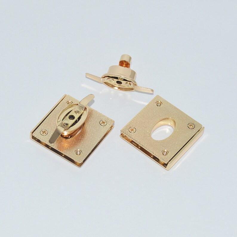 10pcs 39mm light gold square Diy leather purse bag edge protect twist turn lock,clutch purse hardware supplier accessories wholesale NFL-167