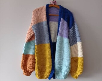 Oversize xxl knitting sweater chunky colorful sweater Super chunky xxl cardigan for woman mothersday gifts