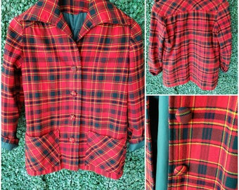 Vintage 70s Plaid Dress Shirt Longsleeve Button Up Pointy Collar Blouse Size 910 By Tucci