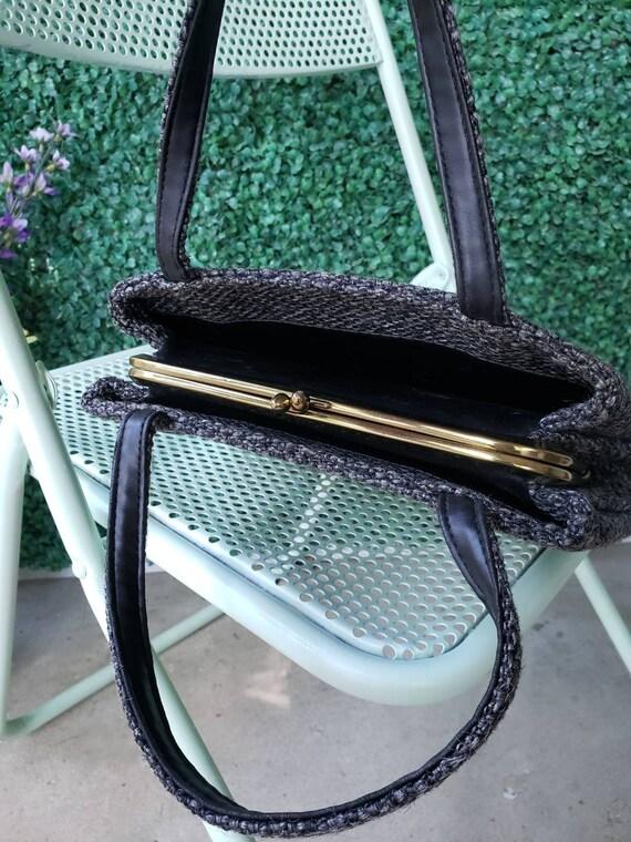 60s Top Handle Bag, Charcoal Gray Tweed Handbag - image 4