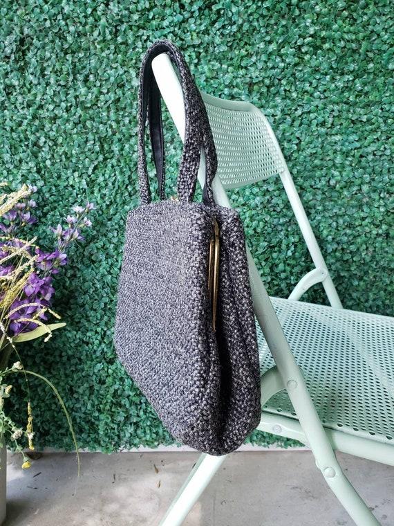 60s Top Handle Bag, Charcoal Gray Tweed Handbag - image 5