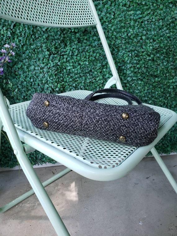 60s Top Handle Bag, Charcoal Gray Tweed Handbag - image 6