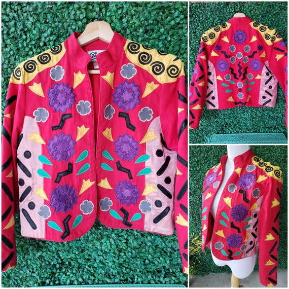 Vintage Rainbow Linen Jacket Desert Sunset 90s Vintage Color-block Multicolor Lightweight Jacket