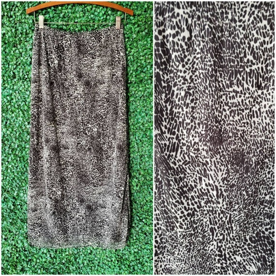 Vintage Leopard Print Maxi Skirt, Black and White