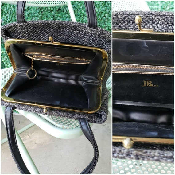 60s Top Handle Bag, Charcoal Gray Tweed Handbag - image 7