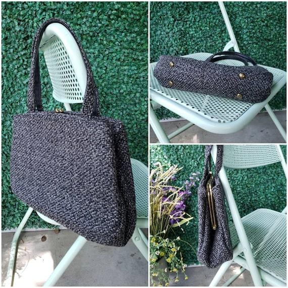 60s Top Handle Bag, Charcoal Gray Tweed Handbag - image 1