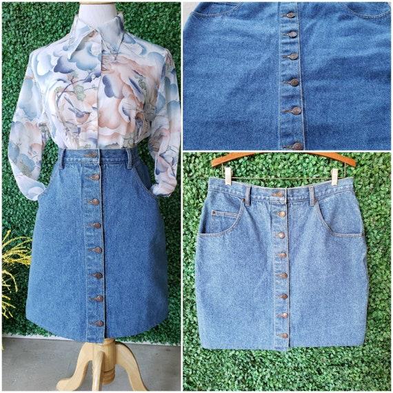Vintage Denim Skirt, 80s Jordache Jeans Button Fro