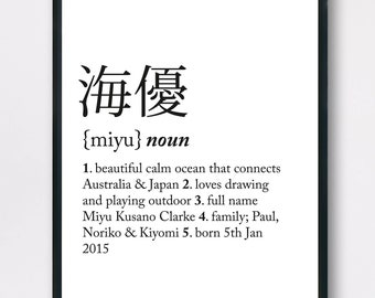 Custom print for kids, Personalised Name Print, Custom Definition print, Wall art, nursery décor art, digital print, name in Japanese