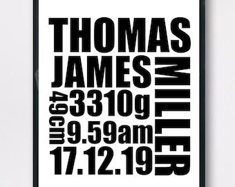 Custom print for kids, Personalised Birth Detail Print, name print, Typography, Wall art, nursery décor art, Kids room decor, digital print