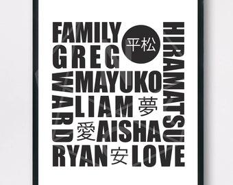 Custom Family name print, Custom typography, Personalised Family Name Print, home decor, Wall art, digital print, name in Japanese