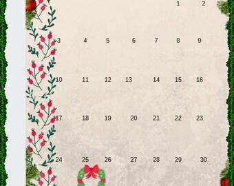Creative notebook - December 2018 calendar - free download