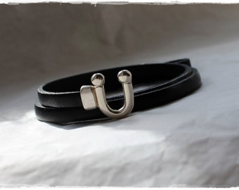 black leather bracelet for women - horse lovers