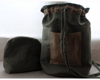 Travel Set, Linen Cosmetic Bags