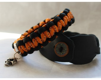 Skull bracelets duo for men - leather and paracord