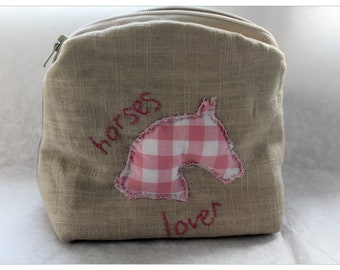 Make-up kit in linen - Horse lover