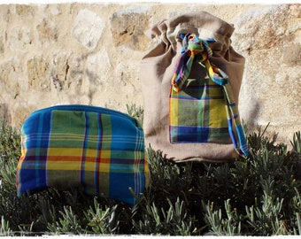 Toilet Bag and Makeup Bag in Madras Fabric and Linen