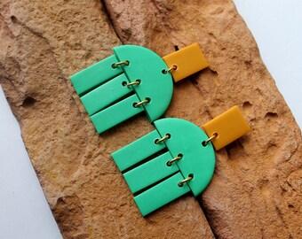 efbc90e33 Polymer Clay Earrings, Modern Design Dangles,Green Earrings. Hoop Earrings, Statement  Earrings, Minimalist Earrings . Handmade.
