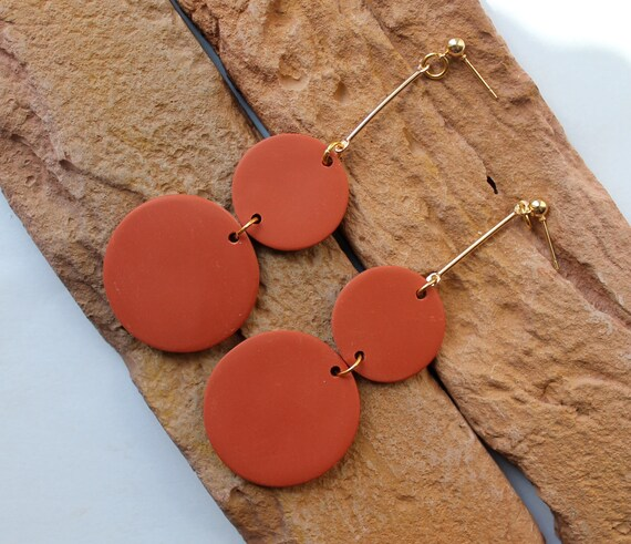 Polymer Clay Earrings .Long dangle earrings WhitegrayblackMustardblue earrings Handmade. Geometric earrings Statement Earrings