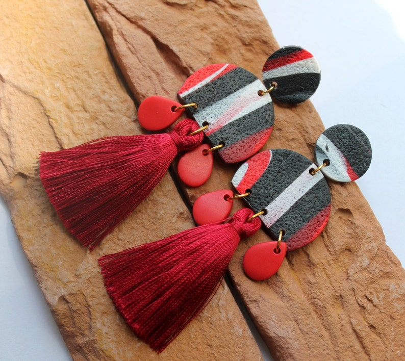 Statement Earrings Red Black earrings Dangle Hoop Earrings Polymer Clay Earrings Handmade gift. Tassel earrings Minimalist Earrings