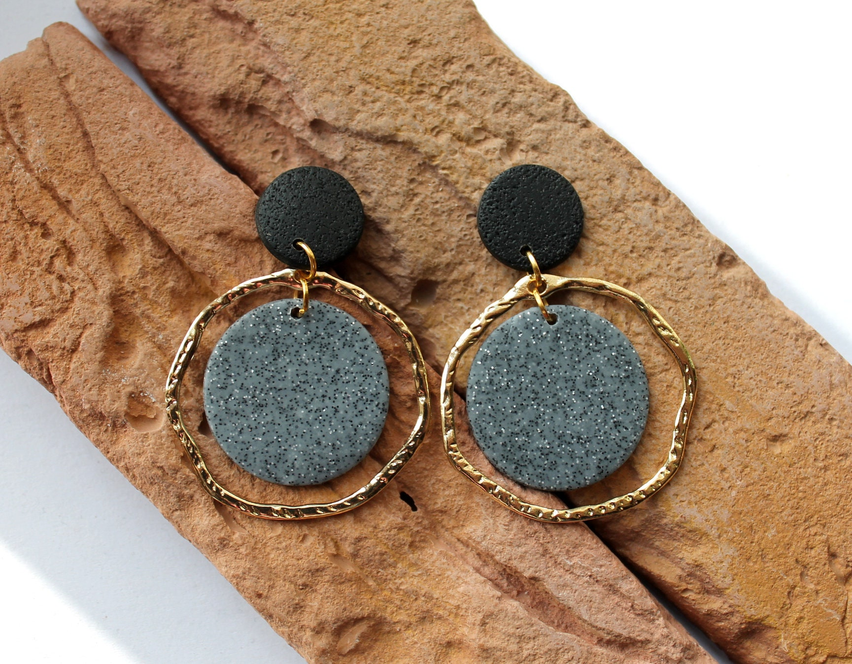 gifts for girls polymer jewelry gifts for women handmade jewelry black and brown dangles polymer clay earrings earring dangles