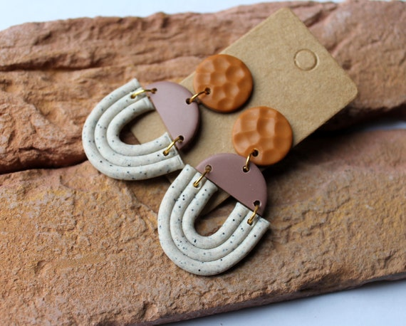 Handmade Brown and Silver Mixed Shape Clay Earrings
