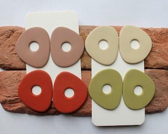 Polymer Clay Earrings, Modern Design Dangles,Sage green/Cream /Brown/Terracotta Earrings. Hoop Earrings, Minimalist Statement Earrings.