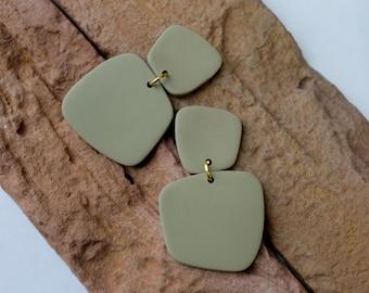 Polymer Clay Earrings,Modern Design Dangles, Sage green Earrings. Hoop Earrings, Statement Earrings, Minimalist Earrings .