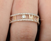 Antique Initials quot M C quot Alphabets Double Eternity Band Ring Solid 14K Yellow Gold Genuine 0.68 Ct. Diamond Ring Handmade Fine Jewelry