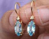 Natural 2.50 Ct. Marquise Shape Blue Topaz Gemstone SI Clarity G-H Color Diamond Hook Earrings Handmade Fine Princess Jewelry