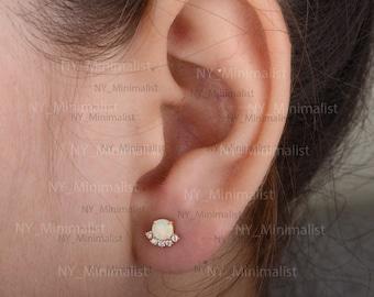 Real 0.07 Ct Pave Diamond Ethiopian Fire Opal Designer Minimalist Stud Earrings Solid 14k Yellow Gold Handmade Fine Jewelry
