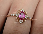 Solid 14K Yellow Gold Genuine 0.75 Ct. Oval Pink Tourmaline Gemstone SI Clarity G-H Color Diamond Ring Handmade Fine Jewelry Birthday Gift