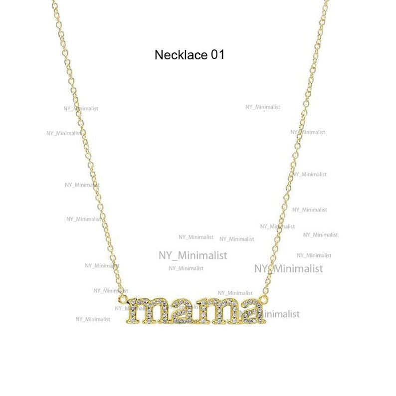 Genuine Diamond Necklace Mother/'s Day Sale Diamond Mama Necklace Choice Your Necklace 14K Yellow Gold Mom  Mother/'s Birthday Gift