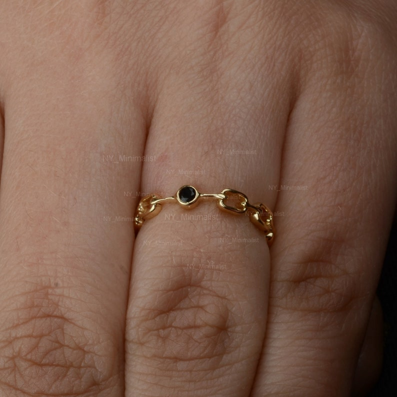 Black Diamond Solitaire Link Chain Statement Ring Solid 14K Yellow Gold Handmade Minimalist Jewelry Party Wear Ring