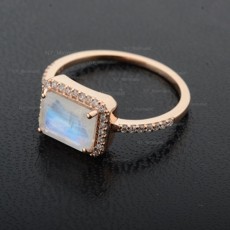 Solitaire Moonstone Gemstone Diamond Cluster Wedding Band Ring Solid 14K Yellow Gold Handmade Jewelry Ready to Ship in Size 5 12 US