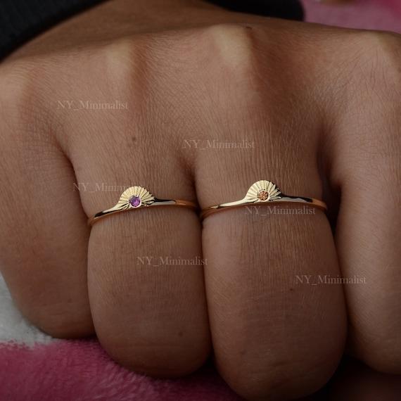 Solid 14K Yellow Gold Ruby Gemstone /& Black Diamond Statement Ring Religious Handmade Minimalist Fine Jewelry Gift For Her