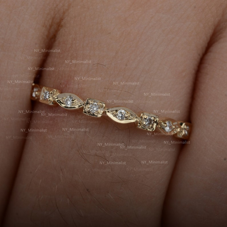 Solid 14K Yellow Gold Eternity Wedding Band Ring in Genuine Pave SI Clarity G-H Color Diamond Engagement Ring Handmade Minimalist Jewelry