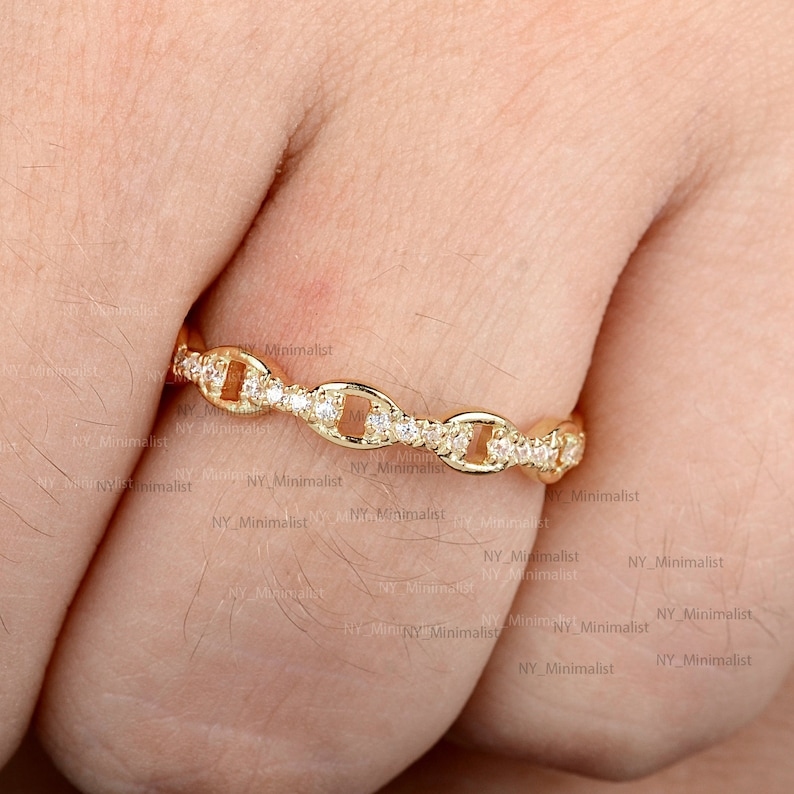 Solid 14K Yellow Gold Eternity Band Ring Genuine Micro Pave SI Clarity G-H Color Diamond Wedding Band Ring Handmade Minimalist Jewelry Gifts
