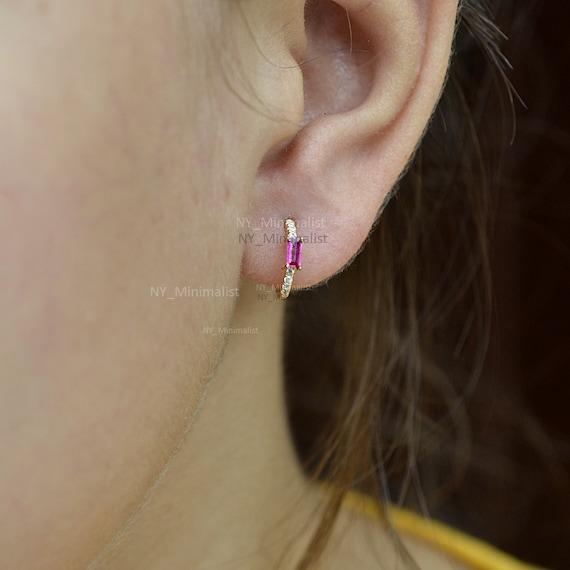 Genuine Baguette Cut Ruby Gemstone & Diamond Huggie Hoop Earrings In 14k Sold Yellow Gold Earrings Handmade Minimalist Jewelry Gift For Her by Etsy