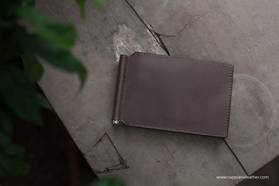 Bespoke Leather Bifold Men/'s Slim Wallet w// Money Clip Monogrammed Engraved Gift