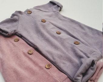 e9da7bd51a2 Organic Terry Short Sleeve Romper with Buttons