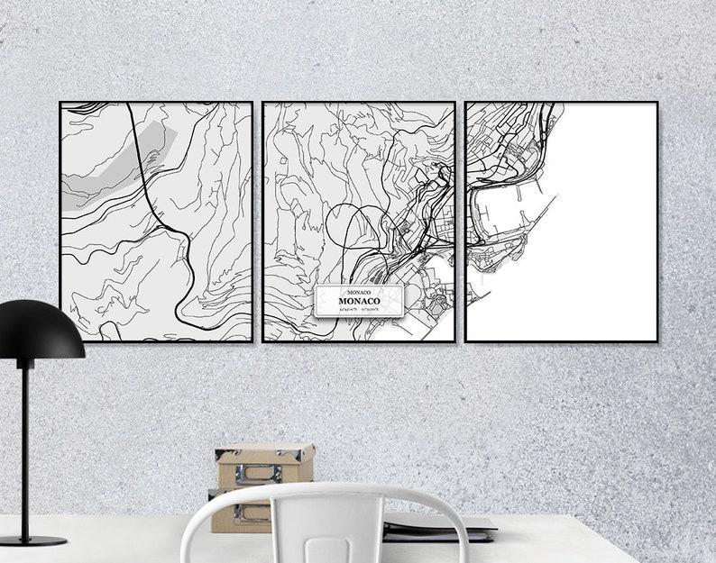 Monaco Set Set of 3 Prints Black /& White Map Street Map Decor Monaco Street Maps Monaco Urban Art Scandinavian Map