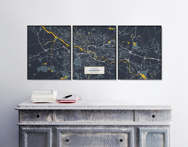Set Set of Posters Scotland City Maps Artwork Triptych 3 Street Maps Glasgow Wall Art Posters Glasgow Map Prints