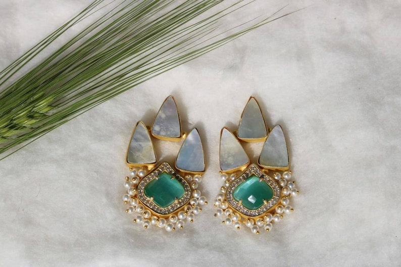 Stud earrings indian studs triangle stone mop stone earring gift for her unique earring handmade jewelry ethnic handmade earring