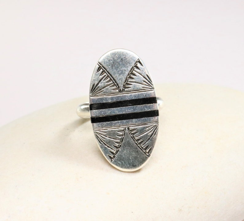 African Berber Ring etched in tribal silver and ebony