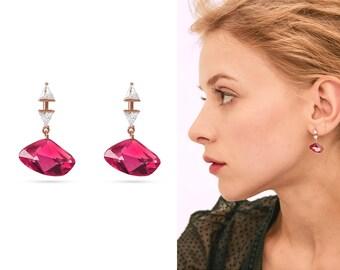 56a626362 Pink Crystal Earrings CZ, Geometric Earrings Unique, Hot Pink Cubic  Zirconia Drop Earrings, White Cubic Triangle Earrings, Post Modern