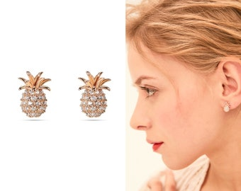 7a711abf4 Pineapple Earrings Studs, Hypoallergenic Earrings, Pineapple Jewelry, Pineapple  Stud Earrings, Pineapple Gifts, Rose Gold Pineapple