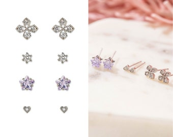 c2ab0a5c6 Earring Sets for Multiple Piercings, Hypoallergenic Earrings Studs, Multiple  Earrings, Small Silver Studs, Mismatched Earrings Pack of 4