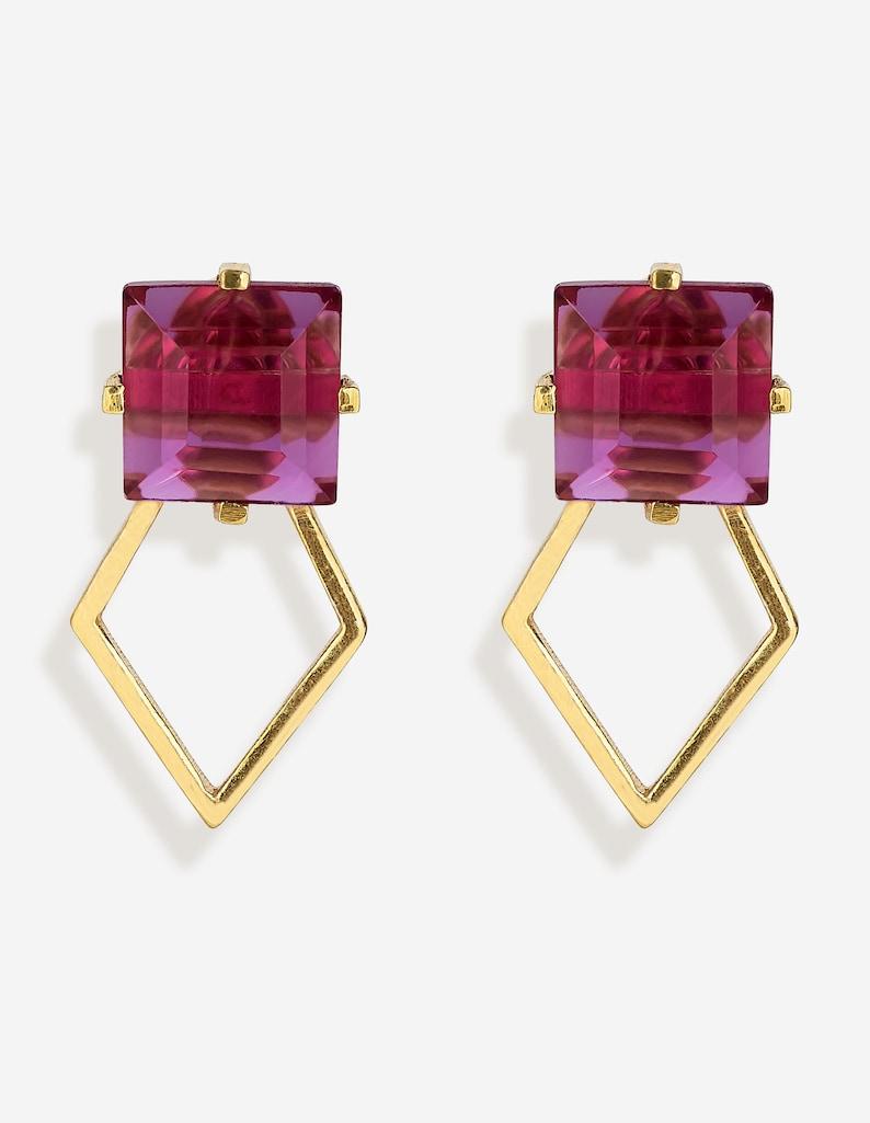 Geometric Studs in Pink Tourmaline.Tiny Studs.Perfect gift Dainty Studs.Pink Studs.Pretty Studs 18k Gold Plated Studs.Geometric Studs.
