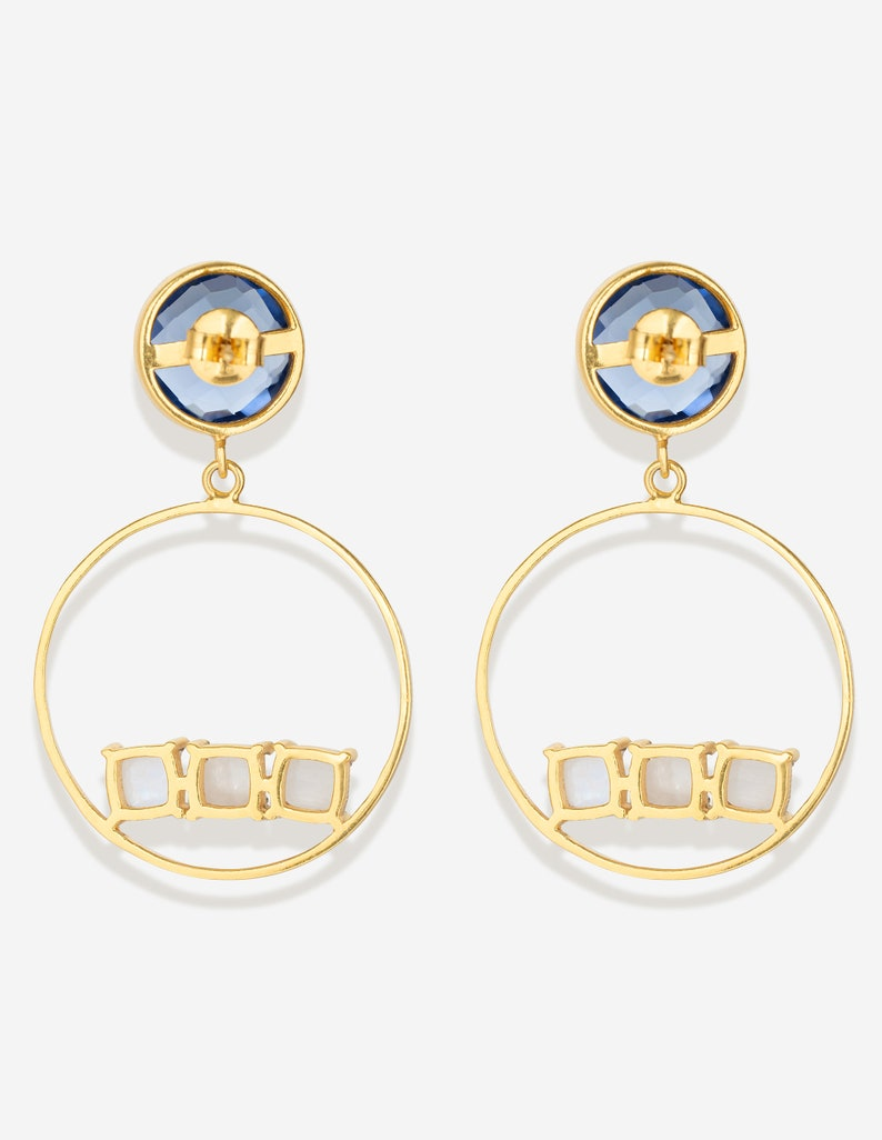 Hoop Earrings Dainty Hoops Modern Jewellery 18KGold Plated Hoops.Party Jewl Blue Topaz Hydro Hoops Pushback Hoops Moonstone Blue Hoops