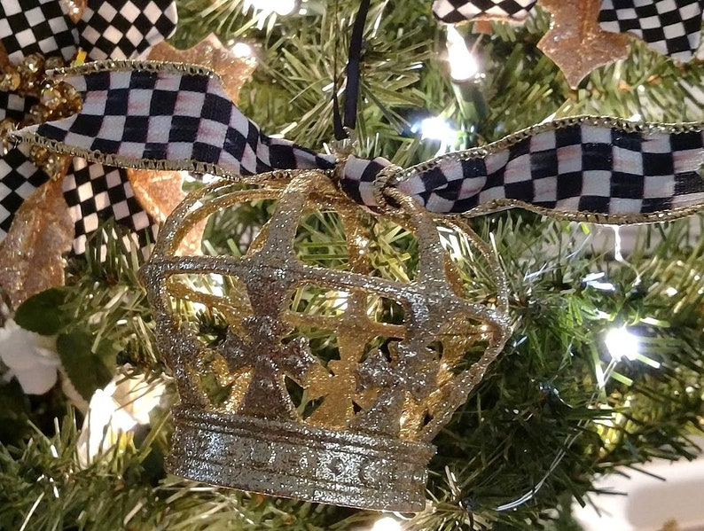 Crown Christmas Ornaments.Gold Glitter Dipped Crown Christmas Ornament With Mackenzie Childs B W Courtly Check Ribbon